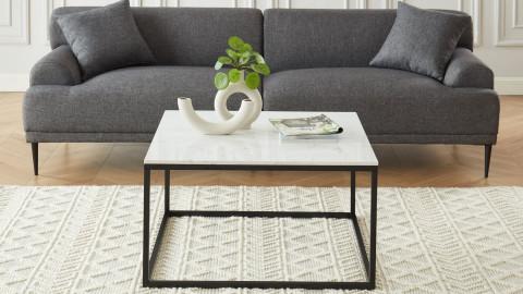Elle Déco - LENNON - Table basse carrée en pierre façon marbre blanc - L80cm