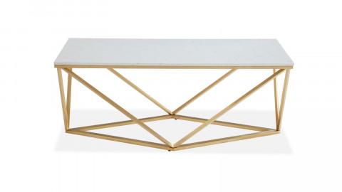 Table basse rectangulaire marbre blanc & métal doré - Roxy - ELLE DECORATION