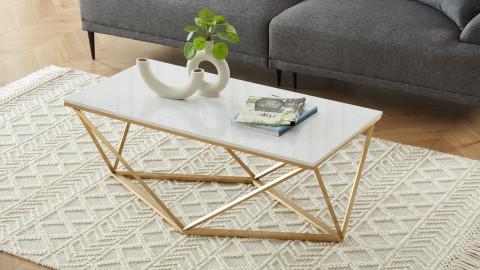 Elle Déco - ROXY - Table basse rectangulaire en pierre façon marbre blanc - L110cm
