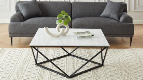 Elle Déco - ROXY - Table basse carrée en pierre façon marbre blanc - L100cm