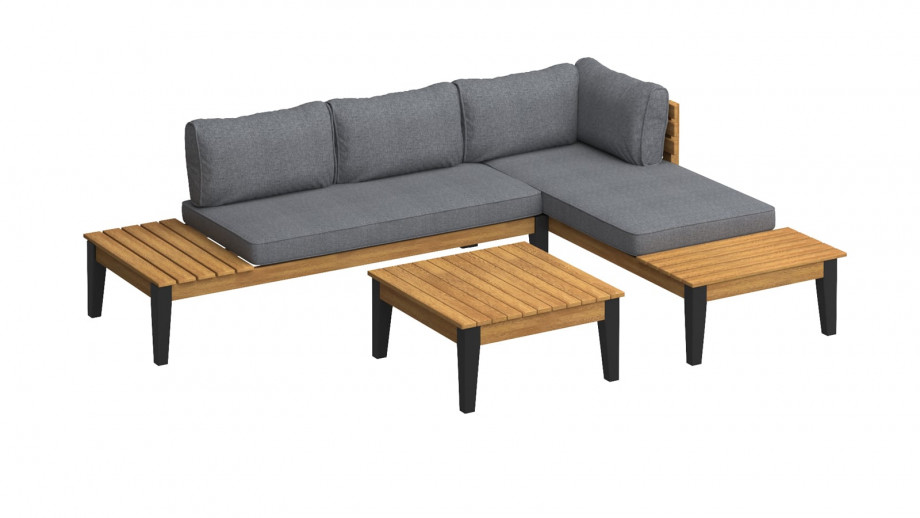 Salon de jardin 4 places en bois d'acacia coussins en tissu gris chiné - Collection Swann