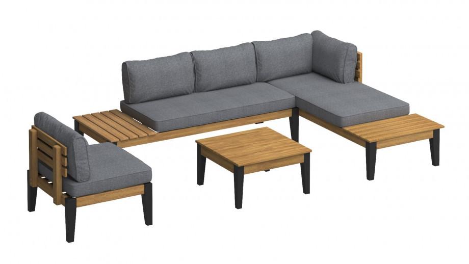 Salon de jardin 5 places en bois d'acacia coussins gris - Collection Emmy