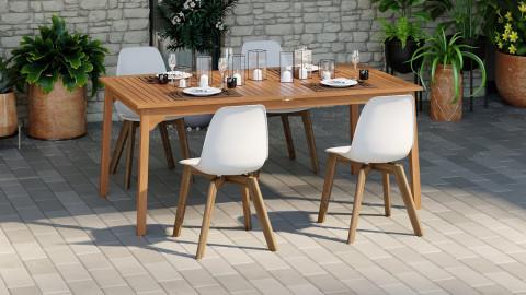 Ensemble table de jardin extensible 8 pers. en bois d'eucalyptus Lyam + 4 chaises scandinaves blanches Suzy