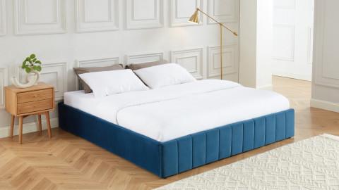 Lit coffre 180x200cm en velours bleu canard + sommier relevable à lattes - Collection Ava - ELLE DECO