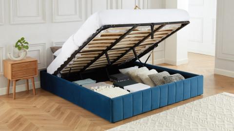 Lit coffre 180x200cm en velours bleu canard + sommier relevable à lattes - Collection Ava - ELLE DÉCORATION