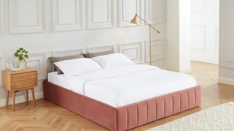 Lit coffre 160x200cm en velours rose blush + sommier relevable à lattes - Collection Ava - ELLE DECO