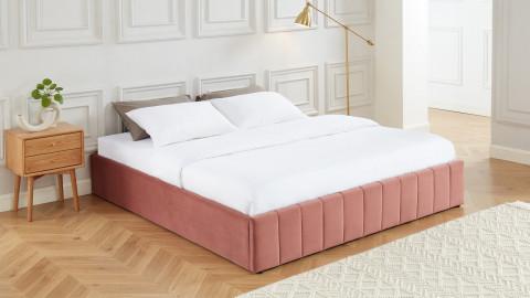 Lit coffre 180x200cm en velours rose blush + sommier relevable à lattes - Collection Ava - ELLE DECO