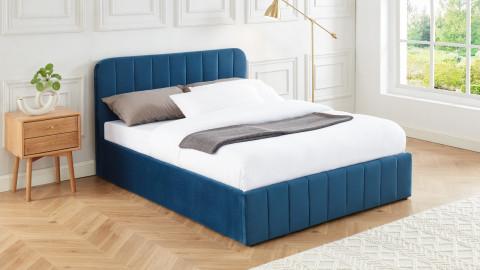 Lit coffre 140x190cm en velours bleu canard avec tête de lit + sommier à lattes - Collection Ava - ELLE DECO