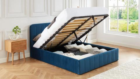 Lit coffre 140x190cm en velours bleu canard avec tête de lit + sommier à lattes - Collection Ava - ELLE DÉCORATION