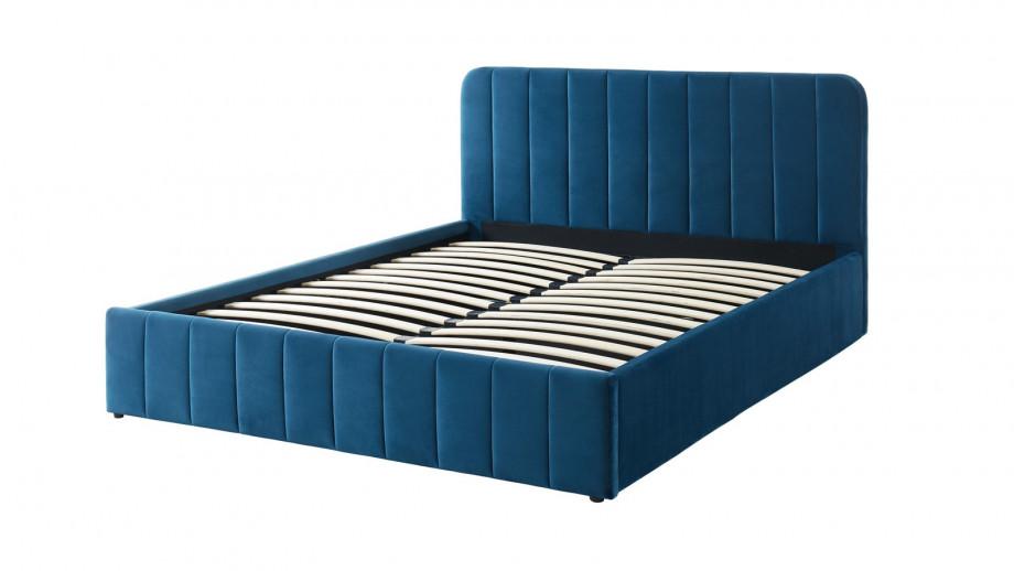 Lit coffre 160x200cm en velours bleu canard avec tête de lit + sommier à lattes - Collection Ava - ELLE DECO