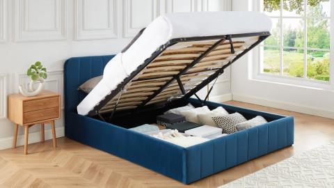 Lit coffre 160x200cm en velours bleu canard avec tête de lit + sommier à lattes - Collection Ava - ELLE DÉCORATION