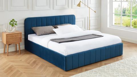 Lit coffre 180x200cm en velours bleu canard avec tête de lit + sommier à lattes - Collection Ava - ELLE DECO