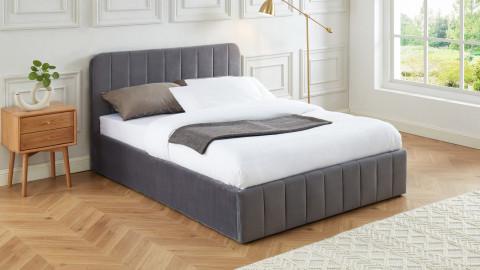 Lit coffre 140x190cm en velours gris anthracite avec tête de lit + sommier à lattes - Collection Ava - ELLE DECO