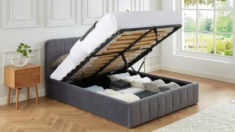 Lit coffre 140x190cm en velours gris anthracite avec tête de lit + sommier à lattes - Collection Ava - ELLE DÉCORATION