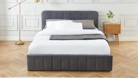 Lit coffre 160x200cm en velours gris anthracite avec tête de lit + sommier à lattes - Collection Ava - ELLE DECO