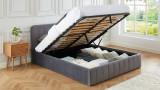 Lit coffre 160x200cm en velours gris anthracite avec tête de lit + sommier à lattes - Collection Ava - ELLE DÉCORATION