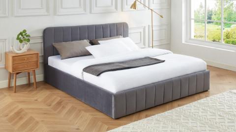 Lit coffre 180x200cm en velours gris anthracite avec tête de lit + sommier à lattes - Collection Ava - ELLE DECO
