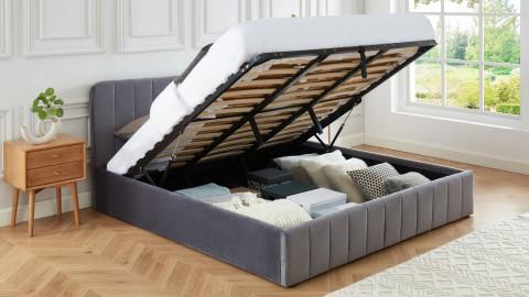 Lit coffre 180x200cm en velours gris anthracite avec tête de lit + sommier à lattes - Collection Ava - ELLE DÉCORATION