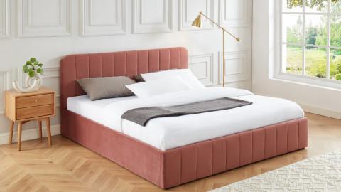 Lit coffre 180x200cm en velours rose blush avec tête de lit + sommier à lattes - Collection Ava - ELLE DECO