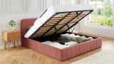 Lit coffre 180x200cm en velours rose blush avec tête de lit + sommier à lattes - Collection Ava - ELLE DÉCORATION