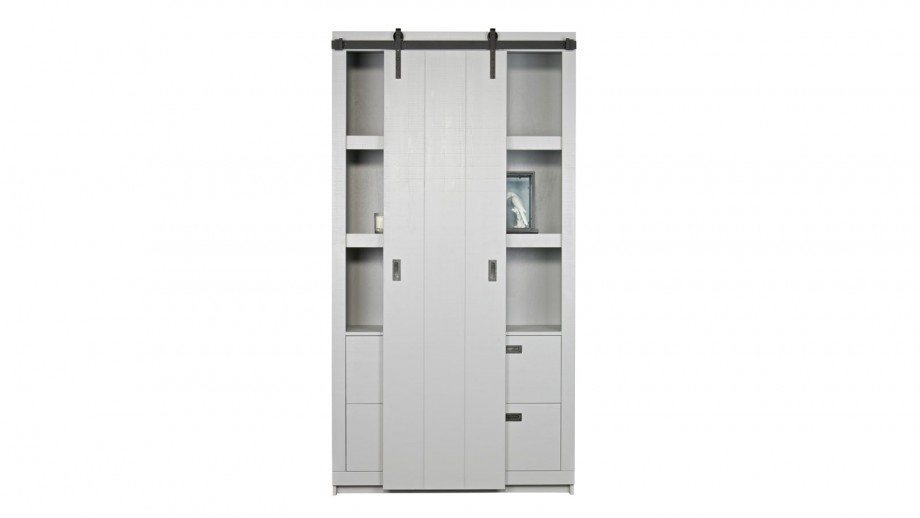 Armoire brut de sciage en pin et béton gris – Collection Side Barn