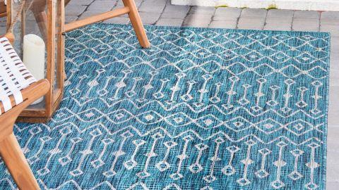 Tapis d'extérieur scandinave bleu 67x180cm - Collection Ethan