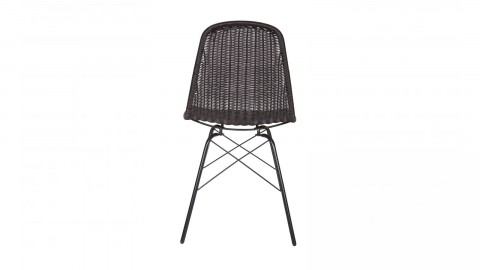 Lot de 2 chaises en rotin noir, piètement en métal – Collection Spun