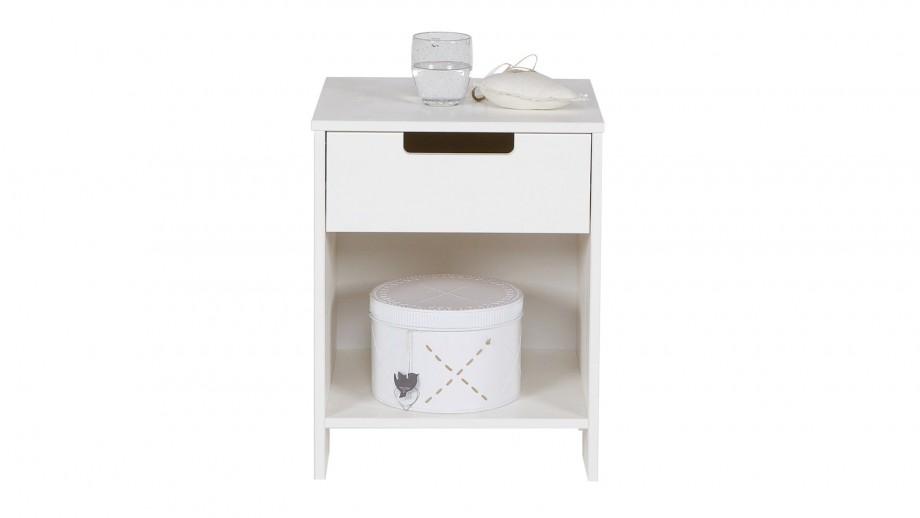 Table de nuit en pin blanc brossé – Collection Jade