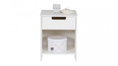 Table de nuit en pin blanc brossé – Collection Jade
