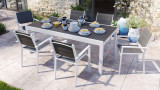 Ensemble table de jardin extensible 8 à 12 personnes aluminium blanche Owen + 6 fauteuils blancs Tony