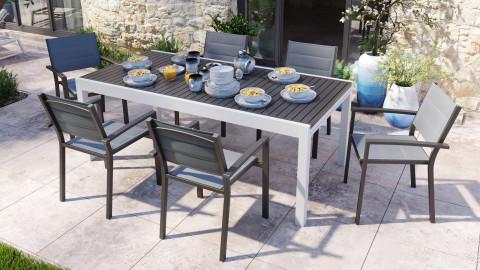 Ensemble table de jardin extensible 8 à 12 personnes aluminium blanche Owen + 6 fauteuils noirs Tony