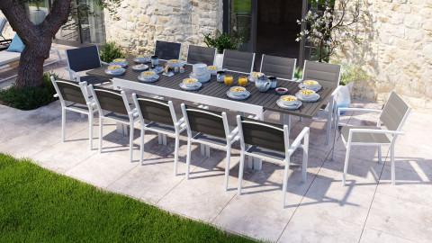Ensemble table de jardin extensible 8 à 12 personnes aluminium blanche Owen + 12 fauteuils blancs Tony