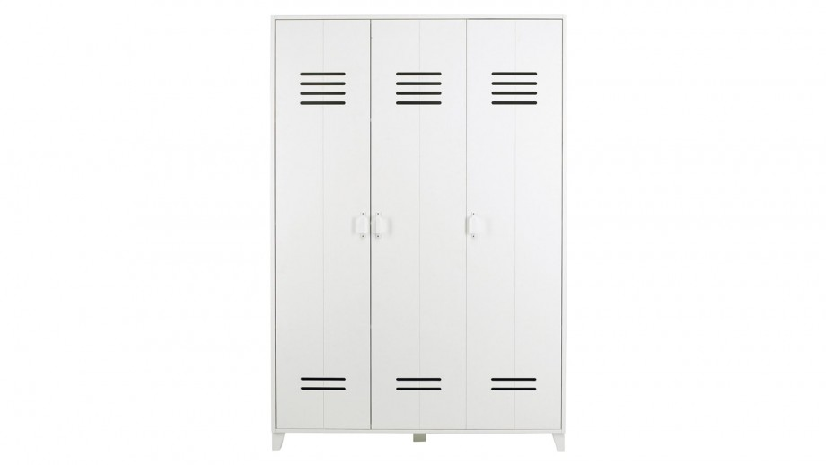 armoire 3 portes en pin blanc collection locker vtwonen homifab. Black Bedroom Furniture Sets. Home Design Ideas
