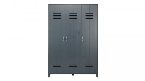 Armoire 3 portes en pin granité gris – Collection Locker