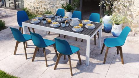 Ensemble table de jardin extensible 8 à 12 personnes blanche Owen + 8 chaises scandinaves bleues avec pieds en bois massif Suzy
