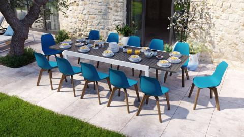Ensemble table de jardin extensible 8 à 12 personnes blanche Owen + 12 chaises scandinaves bleues pieds en bois massif Suzy