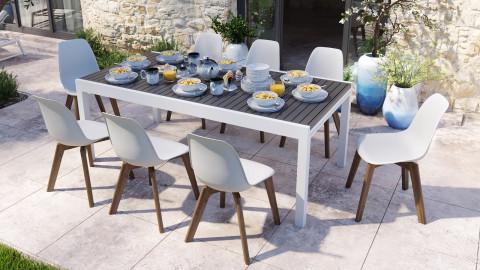 Ensemble table de jardin extensible 8 à 12 personnes blanche Owen + 8 chaises scandinaves blanches pieds en bois massif Suzy