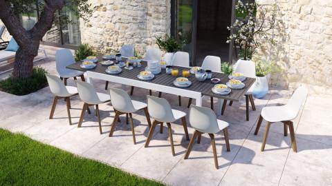 Ensemble table de jardin extensible 8 à 12 personnes blanche Owen + 12 chaises scandinaves blanches pieds en bois massif Suzy