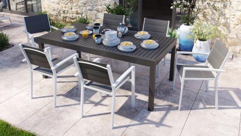 Ensemble table de jardin extensible 8 à 12 personnes aluminium noire Owen + 6 fauteuils blancs Tony