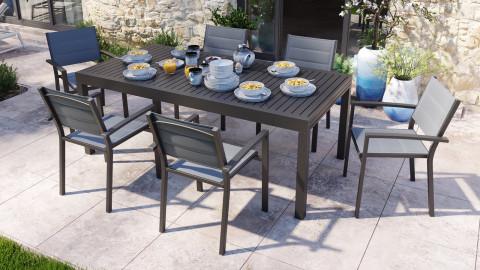 Ensemble table de jardin extensible 8 à 12 personnes aluminium noire Owen + 6 fauteuils noirs Tony