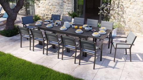Ensemble table de jardin extensible 8 à 12 personnes aluminium noire Owen + 12 fauteuils noirs Tony