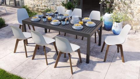 Ensemble table de jardin extensible 8 à 12 personnes noire Owen + 8 chaises scandinaves blanches pieds en bois massif Suzy