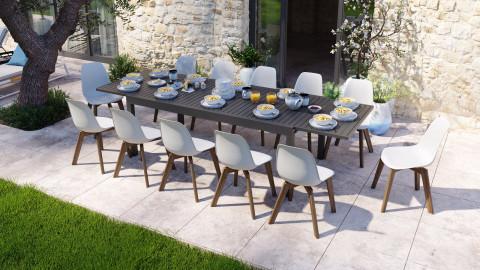 Ensemble table de jardin extensible 8 à 12 personnes noire Owen + 12 chaises scandinaves blanches pieds en bois massif Suzy