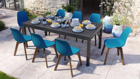 Ensemble table de jardin extensible 8 à 12 personnes noire Owen + 8 chaises scandinaves bleues avec pieds en bois massif Suzy