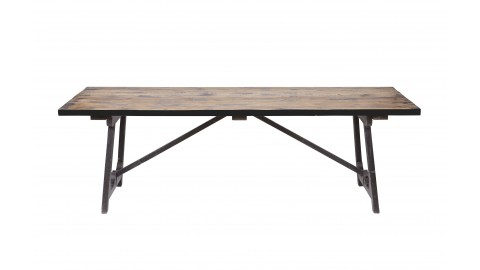 Table à manger en bois 220x90 , piètement en tréteaux en bois noir - Collection Craft - BePureHome