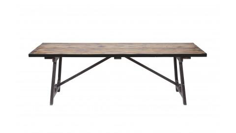 Table à manger en bois 220x90 , piètement en tréteaux métalliques noir - Collection Craft - BePureHome