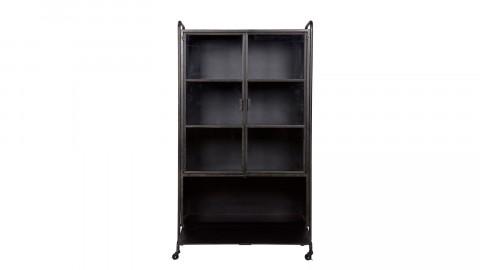 Vitrine en métal noir sur roulettes, 1 tiroir, 2 portes et 2 étagères – Collection Steel Storage
