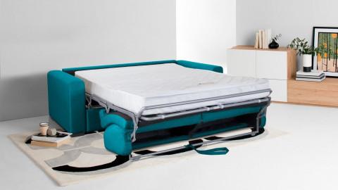 Canapé convertible 3 places en tissu bleu canard - Ouverture express - Couchage quotidien - Matelas HD 140 x 190 - Anzio