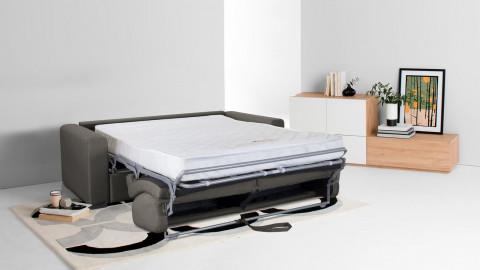 Canapé convertible 3 places en tissu gris - Ouverture express - Couchage quotidien - Matelas HD 140 x 190 - Collection Anzio