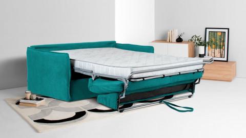 Canapé convertible 3 places en tissu bleu canard - Ouverture express - Couchage quotidien - Matelas HD 140 x 190 - Boheme